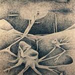 """""""Gdzieś nad lasem"""" - piórko 1986r 70x100 cm"""