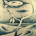 """""""Przed wschodem słońca"""" - piórko 1987r 70x100 cm"""