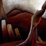 """""""Na ganicy"""" - olej 1987r 100x140 cm /sprzedane/"""